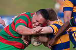 Rawiri Garmonsway is all determination as he goes head to head with John Penberthy. Counties Manukau Premier Club Rugby final between Patumahoe & Waiuku played at Bayers Growers Stadium Pukekohe on Saturday August 8th 2009. Patumahoe won 11 - 9 after leading 11 - 6 at halftime.