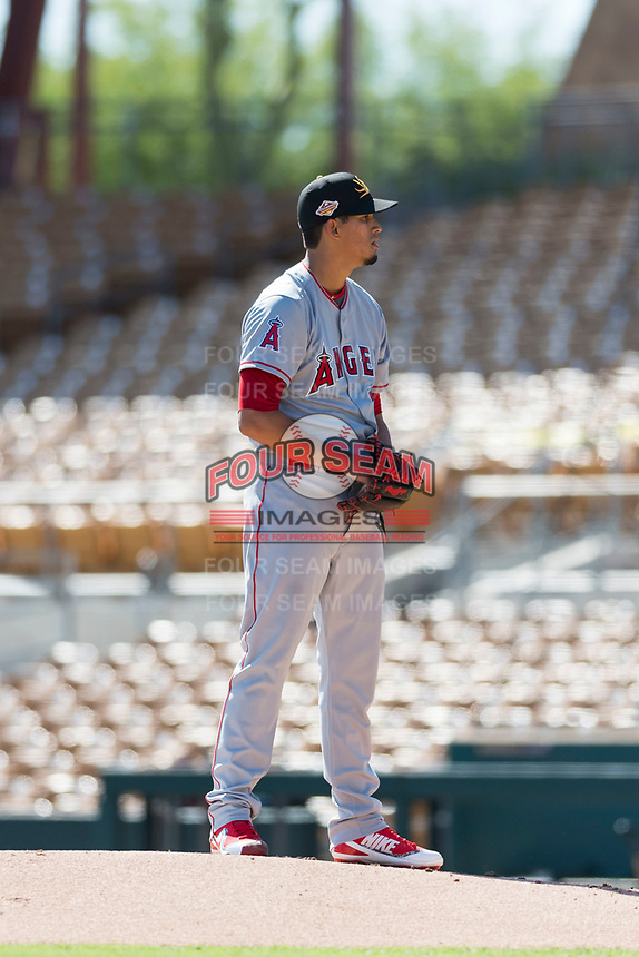 Mesa Solar Sox starting pitcher Jesus Castillo (71), of the Los Angeles Angels organization, looks in for the sign during an Arizona Fall League game against the Glendale Desert Dogs at Camelback Ranch on October 15, 2018 in Glendale, Arizona. Mesa defeated Glendale 8-0. (Zachary Lucy/Four Seam Images)