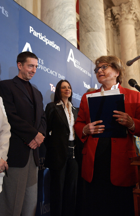 Arts51_032603 -- Ron Reagan Jr., and  Frann Drescher are introduced by Louise M. Slaughter, D-N.Y., during a ceremony for Arts Advocacy Day.