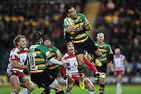 Kahn Fotuali'i of Northampton Saints claims the ball in the air. Aviva Premiership match, between Northampton Saints and Gloucester Rugby on November 27, 2015 at Franklin's Gardens in Northampton, England. Photo by: Patrick Khachfe / JMP
