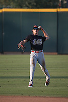 Colin Bray (3) of the Visalia Rawhide makes a throw during a game against the Inland Empire 66ers at San Manuel Stadium on June 26, 2016 in San Bernardino, California. Inland Empire defeated Visalia, 5-1. (Larry Goren/Four Seam Images)