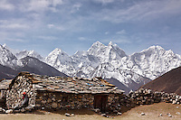 A stone house, sitting above the village of Dingboche in the Khumbu Valley, has a stunning view of the surrounding mountains.
