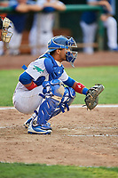 Ramon Rodriguez (3) of the Ogden Raptors on defense against the Grand Junction Rockies at Lindquist Field on July 25, 2018 in Ogden, Utah. The Rockies defeated the Raptors 4-0. (Stephen Smith/Four Seam Images)