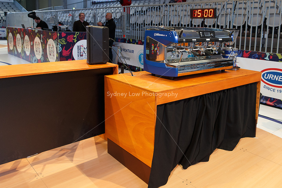 MELBOURNE, AUSTRALIA - MAY 23 The competition stage and equipment prior to the start of day one of the 2013 World Barista Championship at the Melbourne Showgrounds, Australia. Photo Sydney Low / syd-low.com