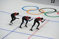 OLYMPIC GAMES: PYEONGCHANG: 18-02-2018, Gangneung Oval, Long Track, Team Pursuit Men, Team Canada, Jordan Belches, Ted-Jan Bloemen, Denny Morrison, ©photo Martin de Jong