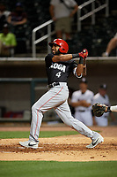 Chattanooga Lookouts Narciso Crook (4) hits a single during a Southern League game against the Birmingham Barons on May 1, 2019 at Regions Field in Birmingham, Alabama.  Chattanooga defeated Birmingham 5-0.  (Mike Janes/Four Seam Images)