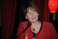 POLITIEK: HEERENVEEN: Café 't Houtsje, 23-10-2013, Politiek Café, Coby van der Laan (PvdA Lijsttrekker Gemeente Heerenveen),  ©foto Martin de Jong