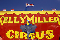 AJ2923, circus, Ontario, Canada, A red and yellow Kelly Miller Circus sign painted on the side of a circus vehicle in Pembroke in the Province of Ontario, Canada.