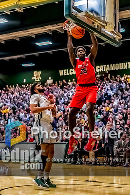 8 January 2020: Stony Brook University Seawolf Forward Anthony Ochefu, a Junior from West Chester, PA, dunks one for two on a breakaway in the second half against the University of Vermont Catamounts at Patrick Gymnasium in Burlington, Vermont. The Seawolves defeated the Catamounts 81-77 in a closely fought game. Mandatory Credit: Ed Wolfstein Photo *** RAW (NEF) Image File Available ***