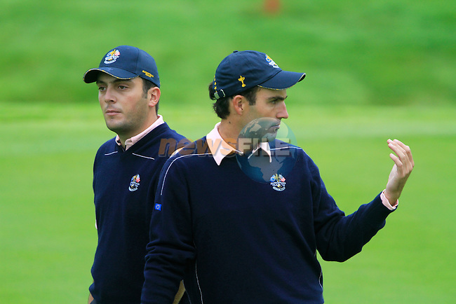 Brothers Francesco and Edoardo Molinari during Practice Day 3 of the The 2010 Ryder Cup at the Celtic Manor, Newport, Wales, 29th September 2010..(Picture Eoin Clarke/www.golffile.ie)