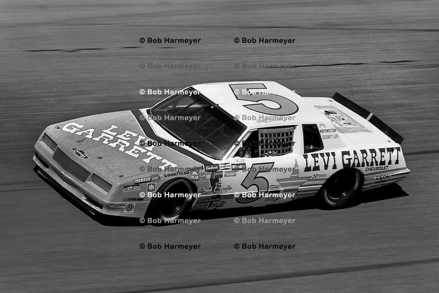 DAYTONA BEACH, FL - FEBRUARY 16: Geoff Bodine drives a Rick Hendrick Chevrolet en route to victory in the Daytona 500 NASCAR Winston Cup race at the Daytona International Speedway in Daytona Beach, Florida, on February 16, 1986.