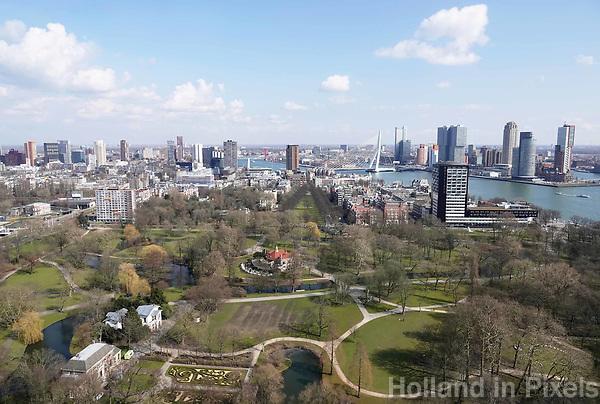 Nederland Rotterdam  26 maart 2018.  Centrum van Rotterdam. Rechts de Maas. Op de voorgrond Het Park . Foto Berlinda van dam / Hollandse Hoogte