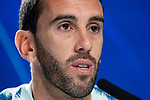 Atletico de Madrid Diego Godin the day before Group Stage UEFA Champions League match between Atletico de Madrid and Club Brujas at Wanda Metropolitano Stadium in Madrid, Spain. October, 2018. (COOLMEDIA/BorjaB.Hojas)