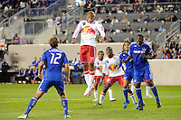 Thierry Henry (14) of the New York Red Bulls goes up for a header. The New York Red Bulls defeated the Kansas City Wizards 1-0 during a Major League Soccer (MLS) match at Red Bull Arena in Harrison, NJ, on October 02, 2010.
