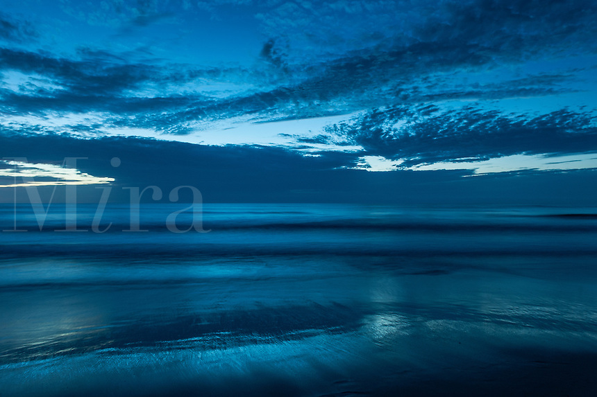 Dramatic blue ocean and sky at dawn, Outer Banks, North Carolina, USA