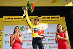 Race leader Greg Van Avermaet (BEL) BMC racing Team retains the Yellow Jersey and wins the days combativity award at the end of Stage 10 of the 2018 Tour de France running 158.5km from Annecy to Le Grand-Bornand, France. 17th July 2018. <br /> Picture: ASO/Alex Broadway | Cyclefile<br /> All photos usage must carry mandatory copyright credit (&copy; Cyclefile | ASO/Alex Broadway)