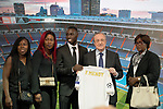 Real Madrid's new player Ferland Mendy (c) with the President Florentino Perez (2r) and his family during his official presentation. June 19, 2019. (ALTERPHOTOS/Acero)