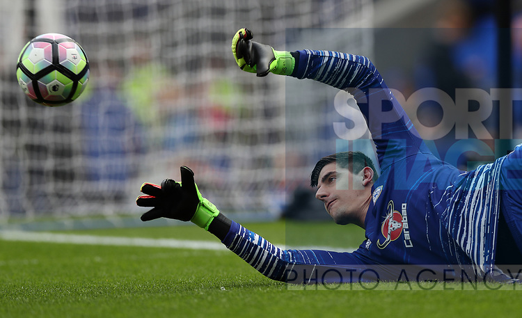 Thibaut Courtois of Chelsea during the English Premier League match at Goodison Park , Liverpool. Picture date: April 30th, 2017. Photo credit should read: Lynne Cameron/Sportimage