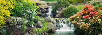 Waterfall in garden at Four Seasons hotel. Lanai, Hawaii.
