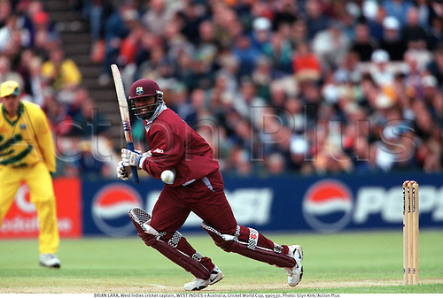 BRIAN LARA, West Indies cricket captain, WEST INDIES v Australia, Cricket World Cup, 990530. Photo: Glyn Kirk/Action Plus...1999.Batsman.batting.coloured strip.pyjamas