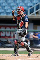 Elih Marrero (2) of Coral Gables Senior High School in Miami, Florida playing for the Tampa Bay Rays scout team during the East Coast Pro Showcase on July 30, 2014 at NBT Bank Stadium in Syracuse, New York.  (Mike Janes/Four Seam Images)