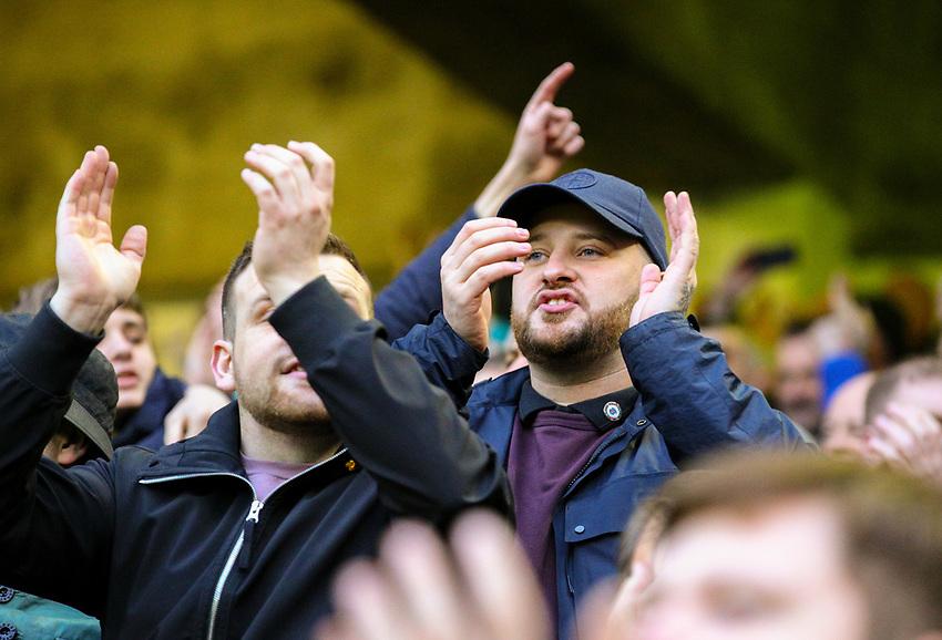 Leeds United fans applaud their team during the second half<br /> <br /> Photographer Alex Dodd/CameraSport<br /> <br /> The EFL Sky Bet Championship - Sheffield United v Leeds United - Saturday 1st December 2018 - Bramall Lane - Sheffield<br /> <br /> World Copyright © 2018 CameraSport. All rights reserved. 43 Linden Ave. Countesthorpe. Leicester. England. LE8 5PG - Tel: +44 (0) 116 277 4147 - admin@camerasport.com - www.camerasport.com