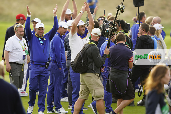 Lee Westwood (Team Europe Vice-Captain) Jon Rahm (Team Europe) after the singles matches at the Ryder Cup, Le Golf National, Ile-de-France, France. 30/09/2018.<br /> Picture Fran Caffrey / Golffile.ie<br /> <br /> All photo usage must carry mandatory copyright credit (© Golffile | Fran Caffrey)