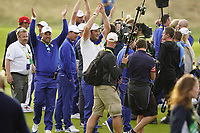 Lee Westwood (Team Europe Vice-Captain) Jon Rahm (Team Europe) after the singles matches at the Ryder Cup, Le Golf National, Ile-de-France, France. 30/09/2018.<br /> Picture Fran Caffrey / Golffile.ie<br /> <br /> All photo usage must carry mandatory copyright credit (&copy; Golffile | Fran Caffrey)