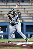 Western Michigan Broncos first baseman Sean O'Keefe (40) at bat against the Michigan Wolverines on March 18, 2019 in the NCAA baseball game at Ray Fisher Stadium in Ann Arbor, Michigan. Michigan defeated Western Michigan 12-5. (Andrew Woolley/Four Seam Images)