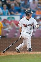 Winston-Salem designated hitter Adam Ricks (15) follows through on his swing versus Wilmington at Ernie Shore Field in Winston-Salem, NC, Saturday, June 9, 2007.