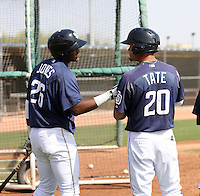 Duanel Jones #26 and Donavan Tate #20 of the San Diego Padres participates in minor league spring training workouts at the Padres minor league complex on March 19, 2011  in Peoria, Arizona..Photo by:  Bill Mitchell/Four Seam Images.