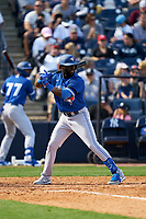 Toronto Blue Jays Anthony Alford (30) bats during a Spring Training game against the New York Yankees on February 22, 2020 at the George M. Steinbrenner Field in Tampa, Florida.  (Mike Janes/Four Seam Images)