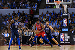 Joel Embiid of 76ers (L) in action against Maxi Kleber of Dallas Mavericks (R) during the NBA China Games 2018 match between Dallas Mavericks and Philadelphia 76ers at Universiade Center on October 08 2018 in Shenzhen, China. Photo by Marcio Rodrigo Machado / Power Sport Images