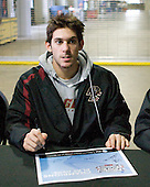 Brian Gibbons (BC - 17) - The Boston College Eagles signed autographs at Ford Field prior to the Humanitarian and Hobey Baker Award presentations and the 2010 Frozen Four Skills Challenge on Friday, April 9, 2010 in Detroit, Michigan.