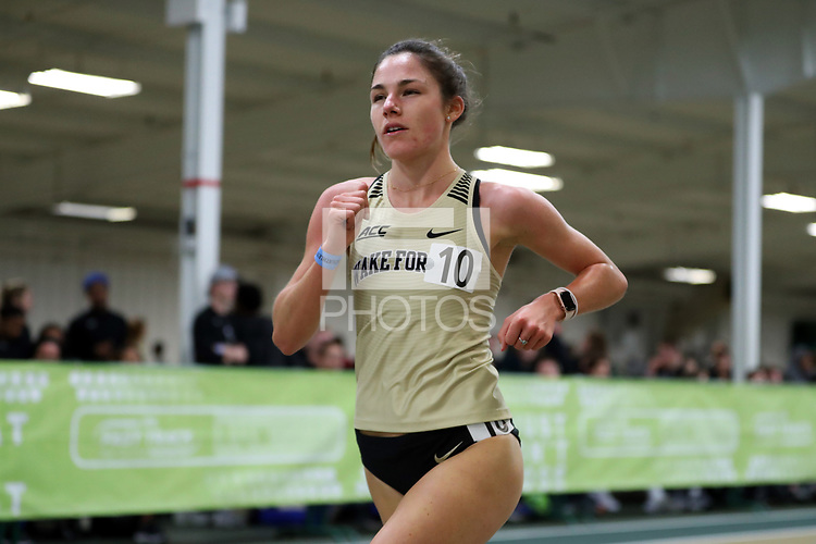 WINSTON-SALEM, NC - FEBRUARY 07: Isabelle Dutranoit #10 of Wake Forest University competes in the Women's 3000 Meters at JDL Fast Track on February 07, 2020 in Winston-Salem, North Carolina.