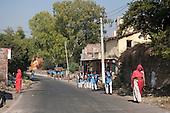 India; road from Udaipur to Jodhpur. Schoolchildren.