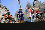 Belgian National Champion Yves Lampaert and Philippe Gilbert (BEL) and Luxembourg National Champion Bob Jungels (LUX) Deceuninck-Quick Step on stage at the team presentation in Antwerp before the start of the 2019 Ronde Van Vlaanderen 270km from Antwerp to Oudenaarde, Belgium. 7th April 2019.<br /> Picture: Eoin Clarke | Cyclefile<br /> <br /> All photos usage must carry mandatory copyright credit (&copy; Cyclefile | Eoin Clarke)