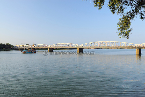 Asia, Vietnam, Hue. Trang Tien bridge across the river Huong (Perfume River).