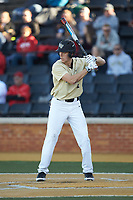 D.J. Poteet (4) of the Wake Forest Demon Deacons at bat against the Gardner-Webb Runnin' Bulldogs at David F. Couch Ballpark on February 18, 2018 in  Winston-Salem, North Carolina. The Demon Deacons defeated the Runnin' Bulldogs 8-4 in game one of a double-header.  (Brian Westerholt/Four Seam Images)