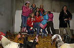 10th February, 2007. Organised hen parties (human ones) run by Deirdre Murtagh at her farm, Causey Farm, Kells, County Meath. Pauline Sharkey (Ardee, County Louth) with her hens and  mates on the farm.Photo: BARRY CRONIN/Newsfile.(Photo credit should read BARRY CRONIN/NEWSFILE)
