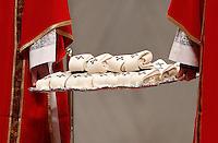 Diaconi portano i Pallii destinati ad essere imposti dal Papa ai nuovi Arcivescovi metropoliti, durante la Messa per la solennita' dei Santi Pietro e Paolo, nella Basilica di San Pietro, Citta' del Vaticano, 29 giugno 2013.<br /> Deacons hold Palliums during the Mass for the Saints Peter and Pauls' day in St. Peter's Basilica at the Vatican, 29 June 2013. The Pope bestowed the Pallium, a woolen shawl symbolizing the archbishops' bond to him, to 35 Archbishops metropolites.<br /> UPDATE IMAGES PRESS/Riccardo De Luca<br /> <br /> STRICTLY ONLY FOR EDITORIAL USE