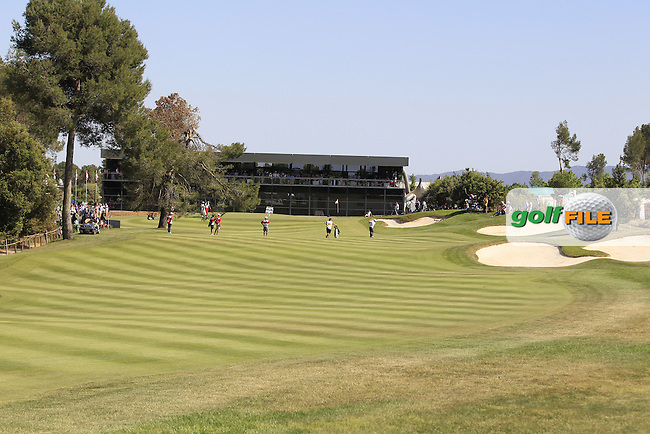 Looking to the 18th tee during Round 3 of the Open de Espana  in Club de Golf el Prat, Barcelona on Saturday 16th May 2015.<br /> Picture:  Thos Caffrey / www.golffile.ie