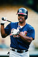 Brian Hunter of the Atlanta Braves during a game against the Los Angeles Dodgers at Dodger Stadium circa 1999 in Los Angeles, California. (Larry Goren/Four Seam Images)