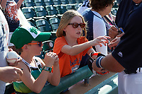Young fans get autographs after a Detroit Tigers exhibition game against the Florida Southern Moccasins on February 29, 2016 at Joker Marchant Stadium in Lakeland, Florida.  Detroit defeated Florida Southern 7-2.  (Mike Janes/Four Seam Images)