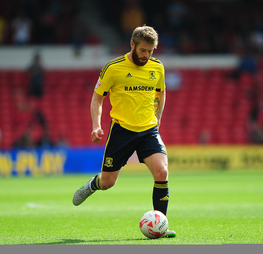 Middlesbrough's Adam Clayton<br /> <br /> Photographer Chris Vaughan/CameraSport<br /> <br /> Football - The Football League Sky Bet Championship - Nottingham Forest v Middlesbrough - Saturday 19th September 2015 - City Ground - Nottingham<br /> <br /> &copy; CameraSport - 43 Linden Ave. Countesthorpe. Leicester. England. LE8 5PG - Tel: +44 (0) 116 277 4147 - admin@camerasport.com - www.camerasport.com