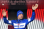 Elia Viviani (ITA) Quick-Step Floors retains the Maglia Ciclamino at the end of Stage 8 of the 2018 Giro d'Italia, running 209km from Praia a Mare to Montevergine di Mercogliano, Italy. 12th May 2018.<br /> Picture: LaPresse/Massimo Paolone | Cyclefile<br /> <br /> <br /> All photos usage must carry mandatory copyright credit (&copy; Cyclefile | LaPresse/Massimo Paolone)