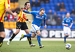 St Johnstone v Partick Thistle...29.03.14    SPFL<br /> Lee Croft and Stuart Bannigan<br /> Picture by Graeme Hart.<br /> Copyright Perthshire Picture Agency<br /> Tel: 01738 623350  Mobile: 07990 594431
