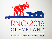 Logo of the 2016 Republican National Convention in Cleveland, Ohio on Friday, July 15, 2016. Photo Credit: Ron Sachs/CNP/AdMedia