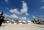 ST. PETERSBURG, FL - JUNE 18: General view of Ludwig/Walkenhorst  of Germany against Pata/Matauatu of  VAN during the FIVB Beach Volleyball World Tour St. Petersburg Grand Slam presented by the AVP on June 18, 2015 at Spa Beach in St. Petersburg, Florida. (Photo by Donald Miralle for the AVP)