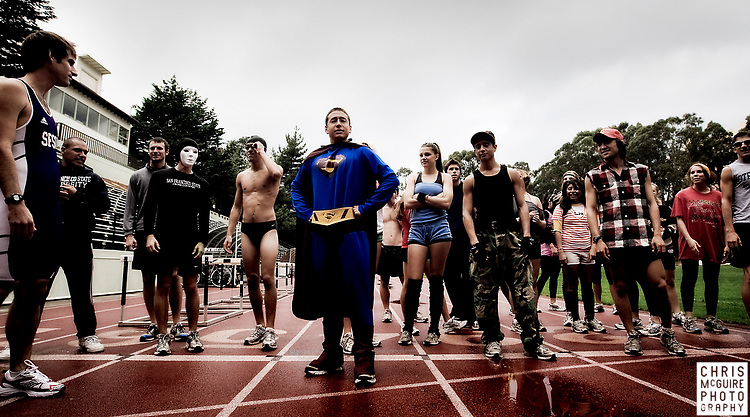 The San Francisco State University Cross Country team runs in their Lap-A-Thon, a fundraiser for the team with part of the proceeds going to pancreatic cancer research at USF, at Cox Stadium on Friday, October 31, 2008.  (Christopher McGuire)